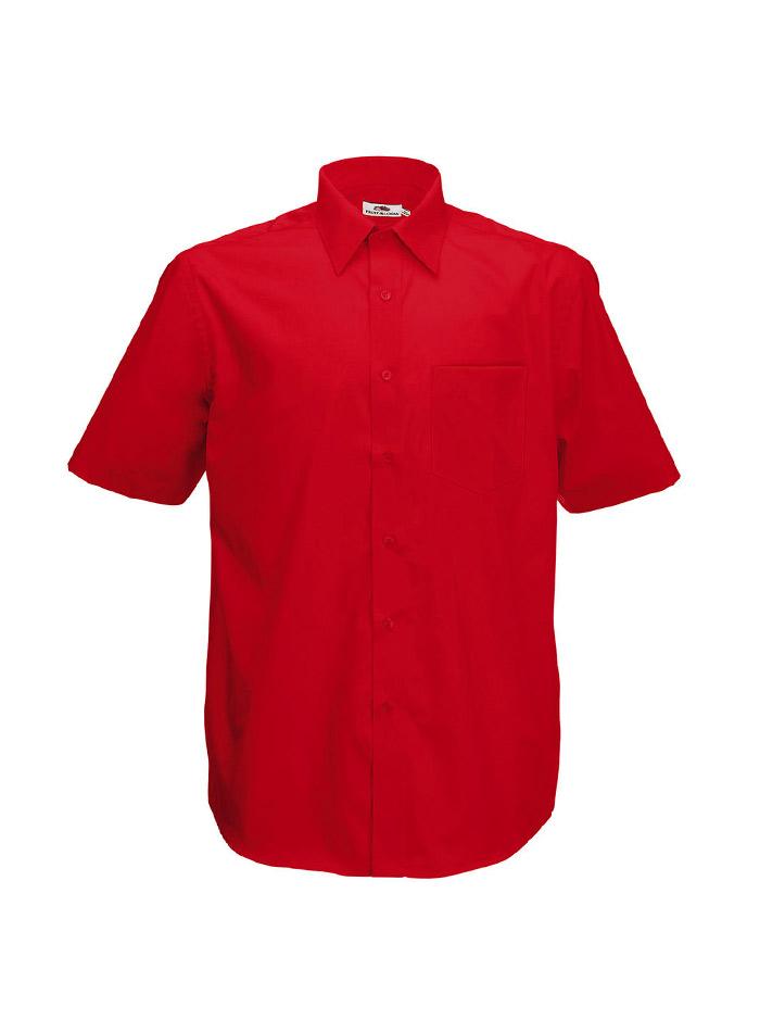 Pánská košile z popelínu - Červená S