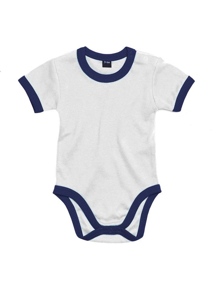 Dětské body Ringer - Bílá a temně modrá 3-6m