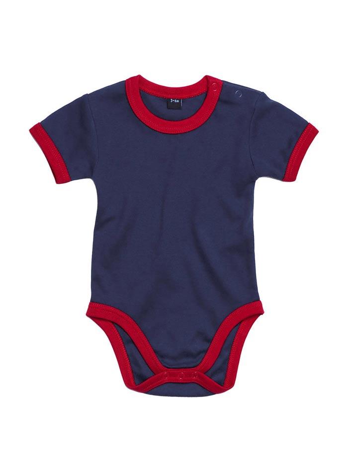 Dětské body Ringer - Tmavě modrá a červená 3-6m