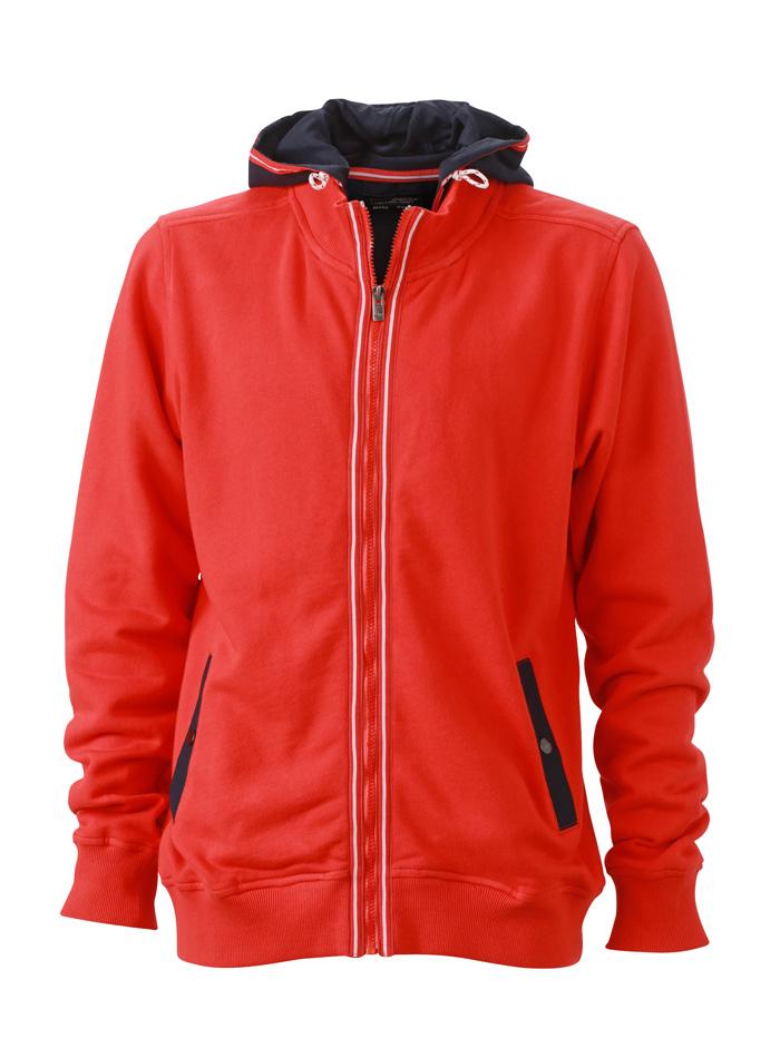 Pánská mikina s kontrastní kapucí - Červená S