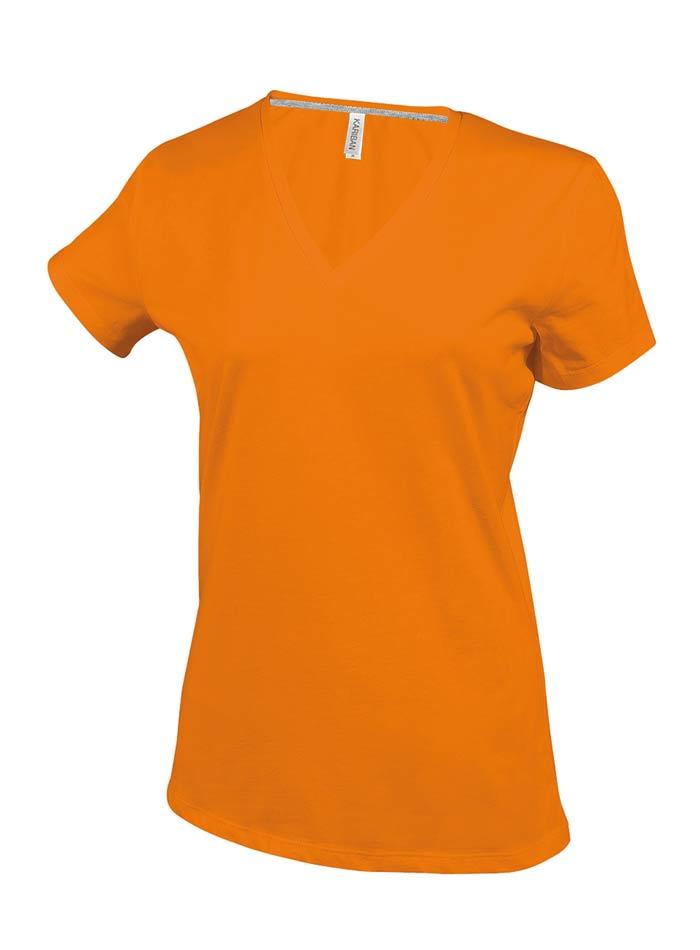 Dámské tričko V-Neck - Oranžová M