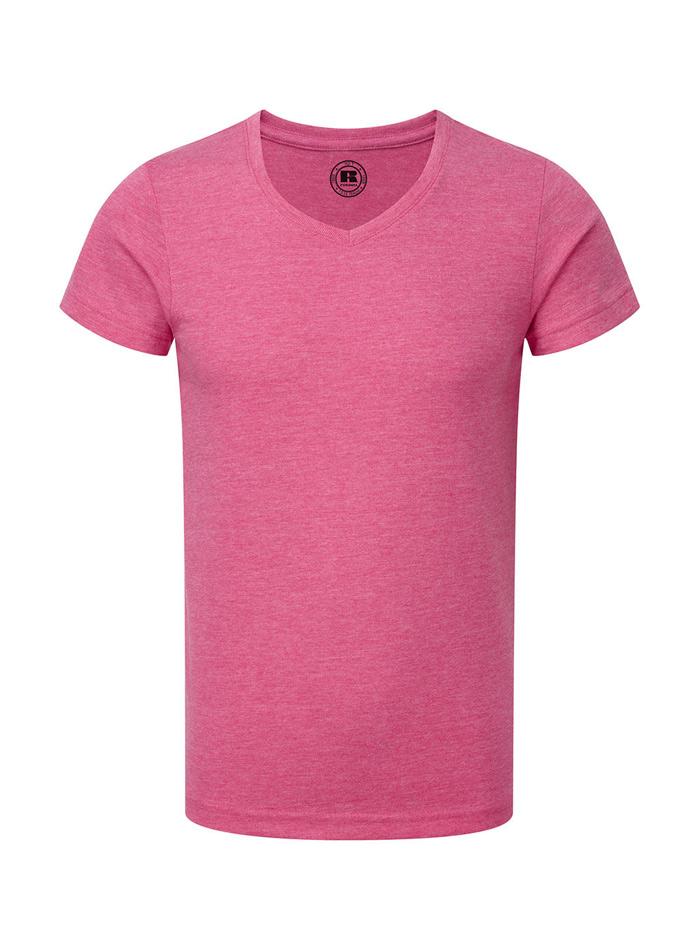 Chlapecké tričko HD V-výstřih - Zářivě růžová 140 (9-10)