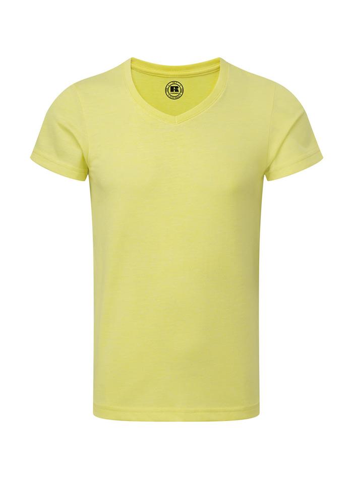 Chlapecké tričko HD V-výstřih - Žlutá 140 (9-10)