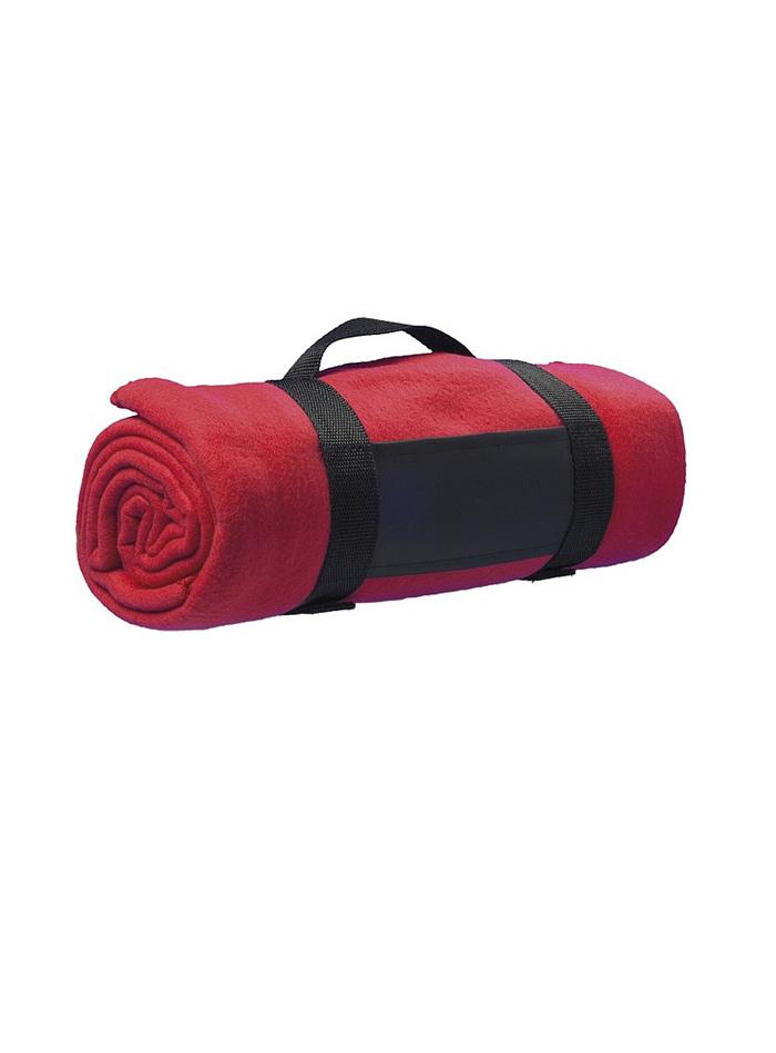 Fleecová deka s popruhem přes rameno - Červená univerzal