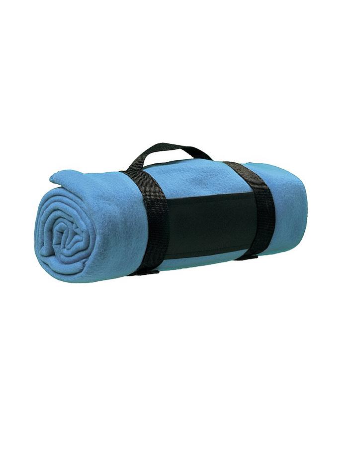 Fleecová deka s popruhem přes rameno - Azurová univerzal