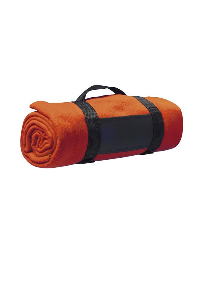 Fleecová deka s popruhem přes rameno - Oranžová univerzal