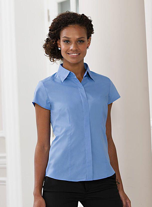 54784130015 Dámská košile Poplin - Dámská košile s krátkým rukávem a skrytými ...