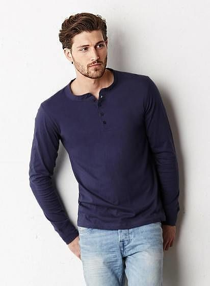 Tričko s dlouhými rukávy Henley