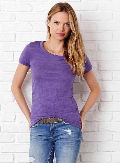 Nemačkavé žíhané tričko Bella+Canvas