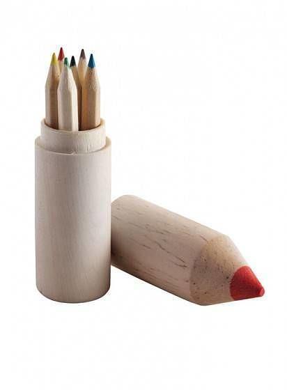 Dřevěná tuba s pastelkami